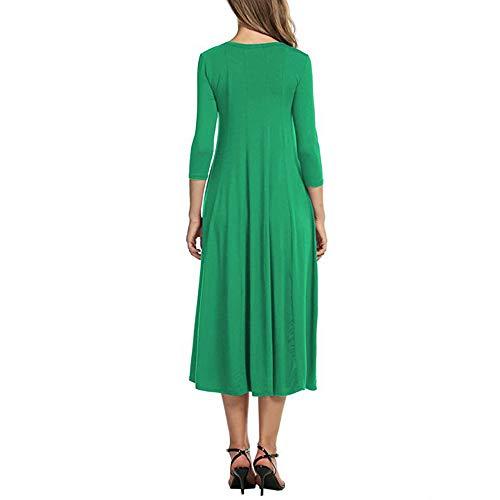 Gonne Cocktail estate Le Clearance Abito Casuale vestiti Maxi Vestito signore Lungo da donna Sera 2018 donna manica ampio Sera Mezza Verde Rawdah ZnzXfqxOdX