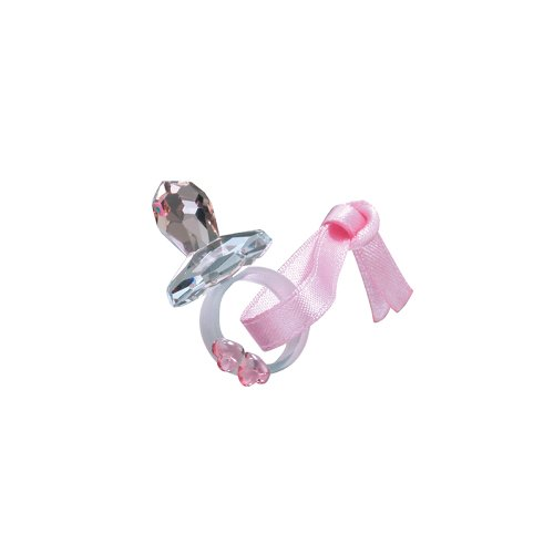 Preciosa Pink Crystal Pacifier with Pink Ribbon and Hearts -
