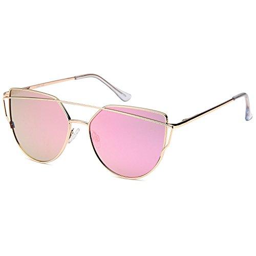 QINKY Womens Cat Eye Aviator Metal Frame Cross Bar Sunglasses with Mirror Flash Flat - Sunglasses Price Aviator Of