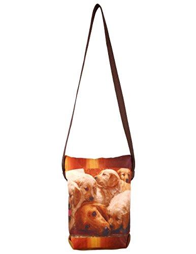 Digital Dog grafica con Rosa Croce Corpo Satchel Handbag - Adorabile stampa all-over - Poliestere Dupion Faux Seta - 8 x 10 x 2,5 pollici