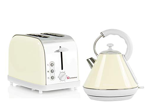 Matching 1.8L Cordless Electric Kettle & 2 Slice Toaster Set Cream Coffee Tea Hot Water Kettle Bread Toaster Kitchenware
