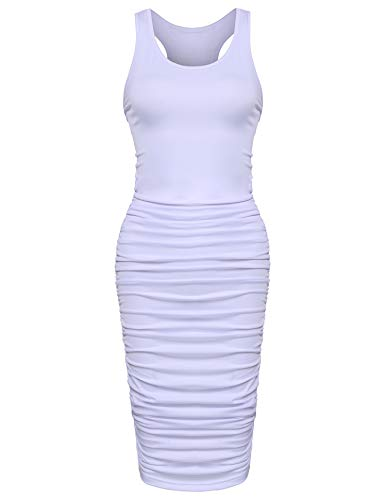 Zeagoo Women's Summer Sexy Sleeveless Sundress Fold Bodycon Tank Dress,White,X-Large