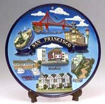 (7 7/18) San Francisco Decorative Plate Collage Round Gold Trim 7.5