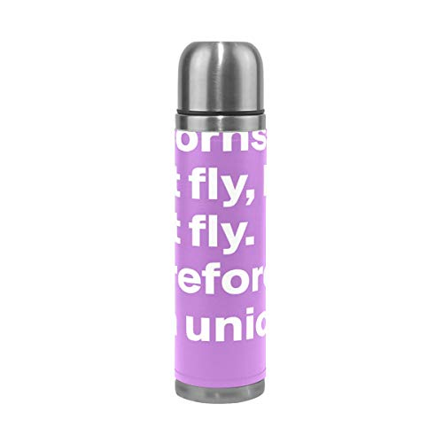 OuLian Water Bottle Unicorns Can't Fly Travel Insulated Stainless Steel Water Bottles Leak Proof Double Wall Thermos Leather Cover 17Oz (500ml)