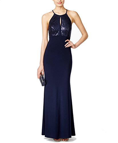 X By Xscape Women's Sequined Keyhole Halter Gown (6, Navy)