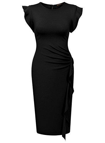 Miusol Vestidos Para Mujer Verano Vintage Casual Coctel Fiesta Cortos Bodycon Ropa Vestidos Negro