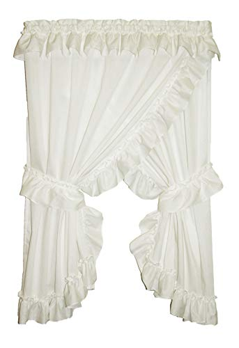 Allison Ruffled Priscilla Window Curtains Pair 174 Inch W by 63 Inch L, Natural ()