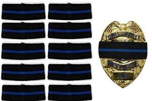 - 10-PACK Thin Blue Line Stripe Black Police Officer Badge Shield Funeral Honor Guard Mourning Band Strap 3/4