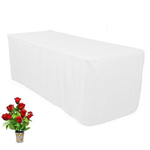 OWS 8' Feet 8 Foot Fitted Rectangle Table Cloth Tresale Table Cover Trade show Booth DJ 8 ft White - 1 Pc