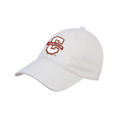 深いハム消去College of CharlestonホワイトTwill Unstructured Low Profile帽子「公式ロゴ – Cチャールストン'