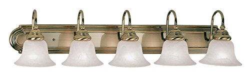 Drawing Room Collection Wall Bracket (Livex Lighting 1005-01 Belmont 5-Light Bath Light, Antique Brass )