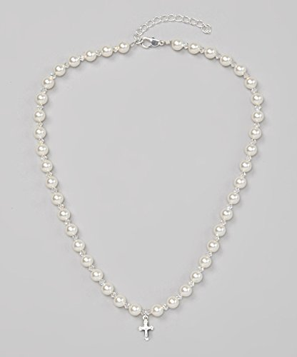 Crystal Dream Christening White Swarovski Simulated Pearls and Crystals Sterling (Crystal Strand Cross)
