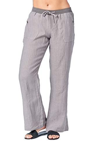 Mariyaab Women's Wide Leg Casual Loose Fitting 100% Linen Pants with Elastic Waist and Drawstring(002A, CharcoalGray, 4) -