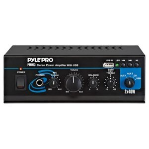 PYLE HOME PTAU23 40-Watt x 2 Mini Stereo Power Amp with USB Reader by Pyle