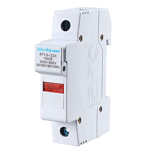 uxcell DIN Rail Mount Fuse Holder Single Pole RT18-32 10mmx38mm with Indicator Light Gray ()