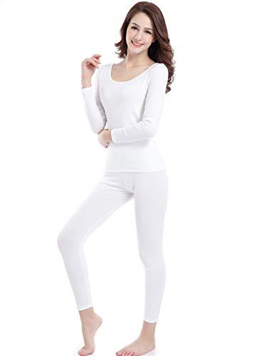 Lightweight Long Johns Top Women Crew Neck Base Layer Thermal Underwear Bottoms Ivory White (Silk Long Underwear Top Women)