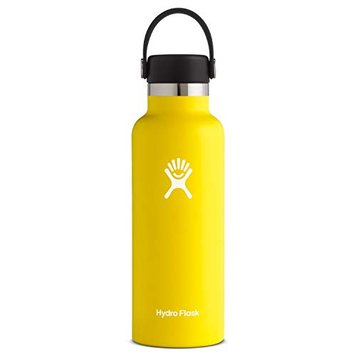 Hydro Flask Standard Mouth Water Bottle, Flex Cap - 18 oz, Lemon from Hydro Flask