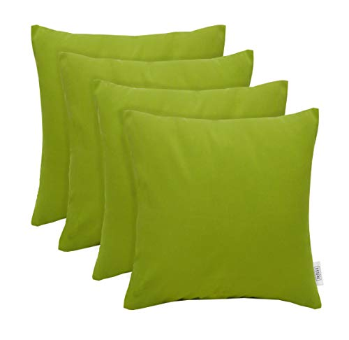 RSH Décor Set of 4 Indoor/Outdoor Square Throw Pillows Sunbrella Canvas Macaw Green (20