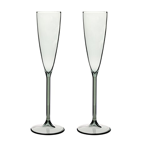 Stem Flutes Black (DOCTORBEE 4 Ounce Glass Champagne Flutes With Stem Borosilicate Hand Blown Set of 2 Transparent Black)
