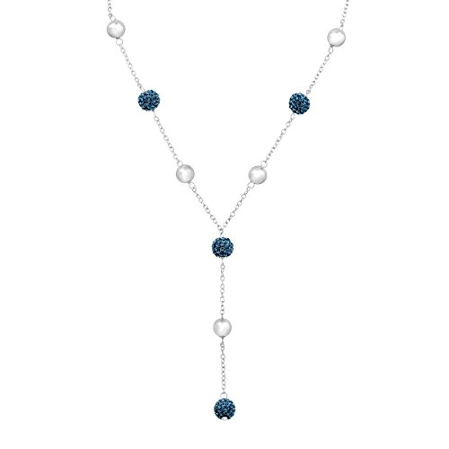 - Crystaluxe Lariat Necklace with Montana Blue Swarovski Crystals in Sterling Silver