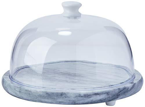 Queijeira De Marmore Com Tampa Plástica Jokari Transparente/marmore Bran 19cm
