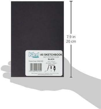 West Design Negro A5 cuaderno de bocetos 40 páginas 140GSM RS261353