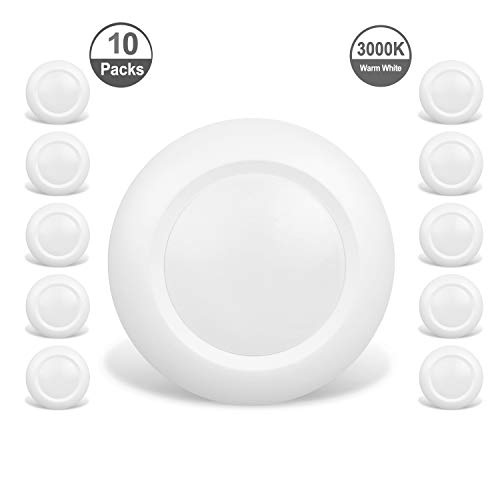 JULLISON 10 Packs 4 Inch LED Low Profile Recessed & Surface Mount Disk Light, Round, 10W, 600 Lumens, 3000K Warm White, CRI80, DOB Design, Dimmable, Energy Star, ETL Listed, White ()