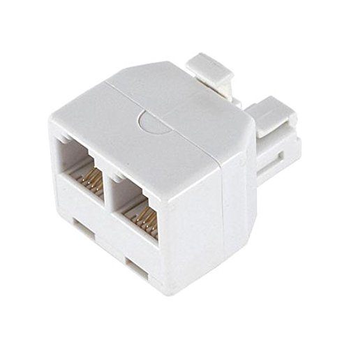 C0247-W 2-Way Wall Modular Phone Adapter RJ11 White Dual T Splitter Line RJ-11 Twin 2 Outlet Telephone Plug Jack Duplex Converter Connection Snap-In ()