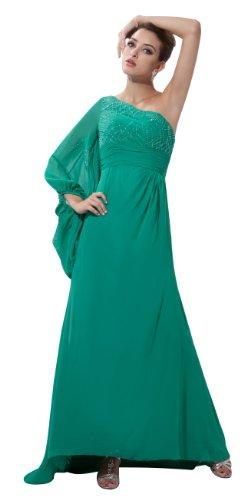 herafa p31078-2 Evening Gowns Elegant One Shoulder 3/4 Sleeve Delicate Beading Long 0 A-Line Green