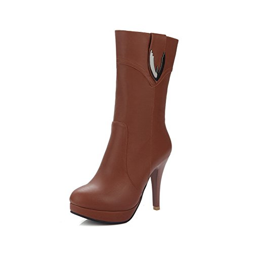 AllhqFashion Womens Round Closed Toe Spikes Stilettos Soft Material Mid Top Solid Boots, Brown, 42