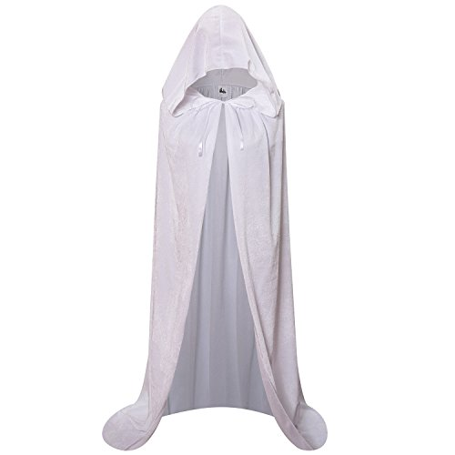 Makroyl Unisex Hooded Cloak Long Velvet Cape for Halloween Christmas Cosplay Costume (L, White) ()