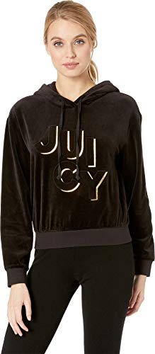 (Juicy Couture Women's Juicy Embossed Velour Hooded Pullover Pitch Black Large)