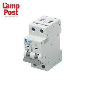 Europa EUC2P16C - 16 Amp Double Pole 16A MCB Circuit Breaker C16. Ideal for Mobile Installations & Caravans