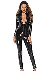 NNWMonos de Cuero Sexy para Mujer, imitación de Cuero con Cremallera húmeda Catsuit Nightclub DS Dance Faux Leather Motocicleta Ropa Mono,Black,S