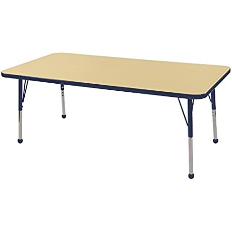 ECR4Kids Mesa Thermo Fused 30 X 60 Rectangular School Activity Table Toddler Legs W Ball Glides Adjustable Height 15 23 Inch Maple Navy
