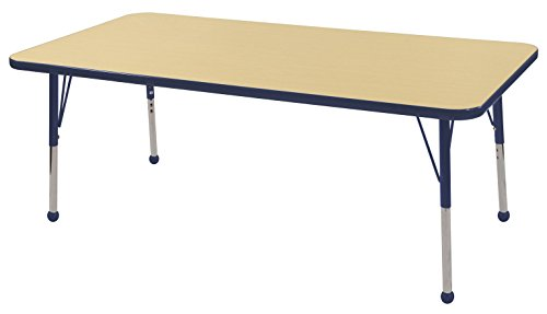 ECR4Kids T-Mold 30'' x 60'' Rectangular Activity School Table, Toddler Legs w/ Ball Glides, Adjustable Height 15-23 inch (Maple/Navy) by ECR4Kids