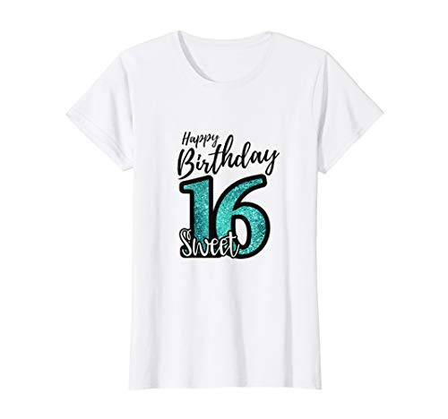 Womens Sweet 16 Shirt I Turquoise and Black Party Decoration Design T-Shirt -