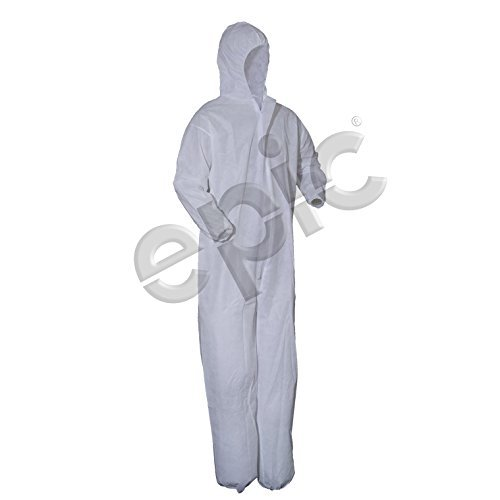 Epic 216850-3XL Coverall, White MP Coated, Collar, NO Elastic, ()