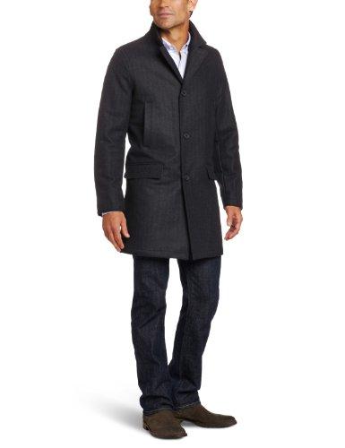 Tommy Hilfiger Men's Wool Fancy top Coat, Chalk Stripe, Large