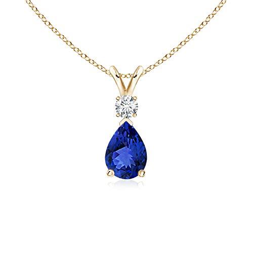 Tanzanite Teardrop Pendant with Diamond in 14K Yellow Gold (7x5mm Tanzanite)