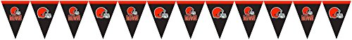 Creative Converting Officially Licensed NFL Plastic Flag Banner, 12', Cleveland Browns