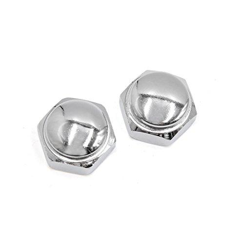 uxcell 2 Pcs 22mm Thread Dia Metal Motorcycle Steering Wheel Shaft Cap Acorn Hex Nuts ()