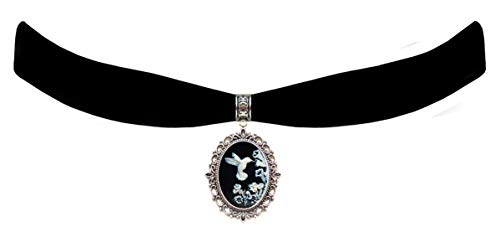 Victorian Vault Black Velvet Choker Hummingbird Mystical Steampunk Pendant Necklace