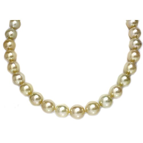 Mikimoto Pearl Pendant (14k Gold - Golden Australian South Sea Pearl Necklace 15-12 mm AAA Quality Princess Lenght 18