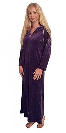 Shlomper Zip Up Hooded Velour Kaftan Robe Small Grape Amazonco