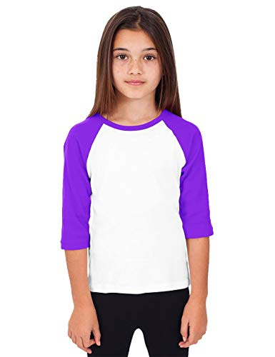 Hat and Beyond Kids Raglan Jersey Child Toddler Youth Uniforms 3/4 Sleeves T Shirts (X-Small (2-3 Year), (Kid) 5bh03_White/Purple)