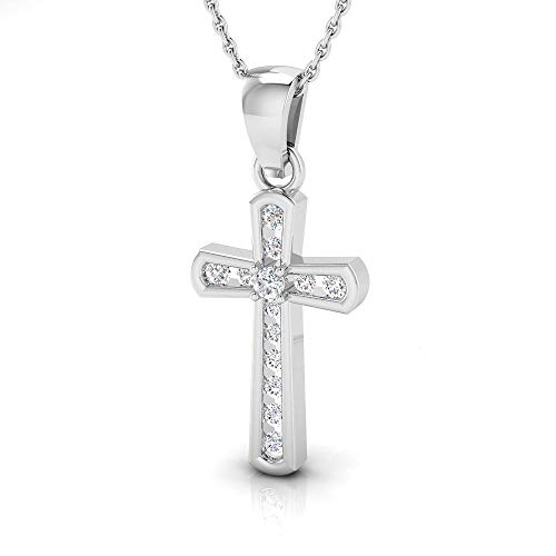 IGI Certified 1/4 Carat Natural Diamond Sterling Silver Cross Pendant for Women with Chain (J-K Color, I2-I3 Clarity)