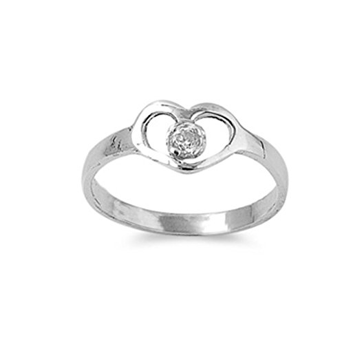 Sterling Silver Heart Baby Ring w/ Clear CZ Child Band Solid 925 Size 4