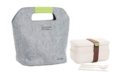 Planet friendly - Natural double layer Rice Husk Fiber lunch box and Felt Thermal bag. No toxic substances. Totally recyclable with FDA certification