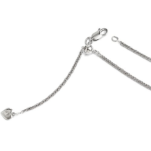 0.95mm Sterling Silver Adjustable D/C Wheat Chain Anklet, 11 Inch